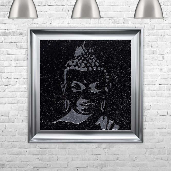 SHH Interiors Buddha Trace Artwork Hand Made with Liquid Glass and Swarovski Crystals 75 x 75 cm