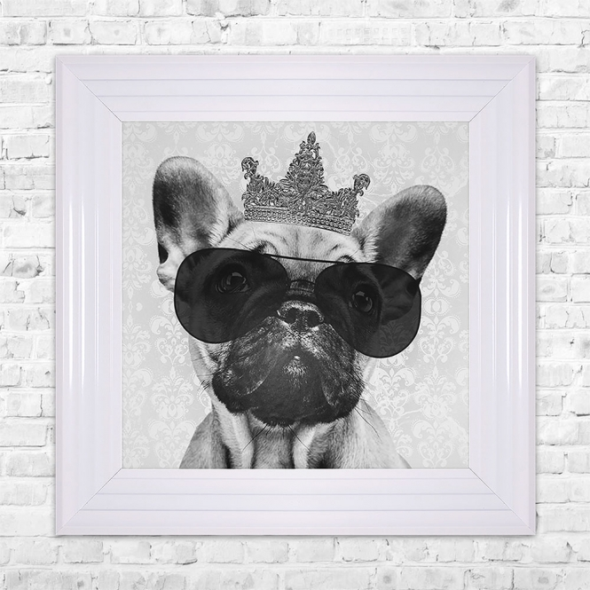 SHH Interiors Bulldog Print Framed Liquid Artwork and Swarovski Crystals