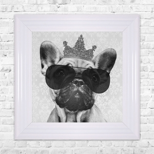 Bulldog Print Framed Liquid Artwork and Swarovski Crystals