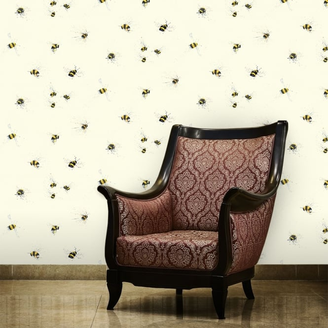 1Wall Bumble Bees Neutral Nature Wallpaper 53cm x 1005cm