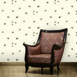 Bumble Bees Neutral Nature Wallpaper 53cm x 1005cm