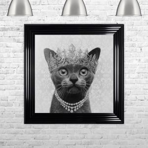Burmese Cat with Crown Detail Framed Liquid Artwork with Swarovski Crystals