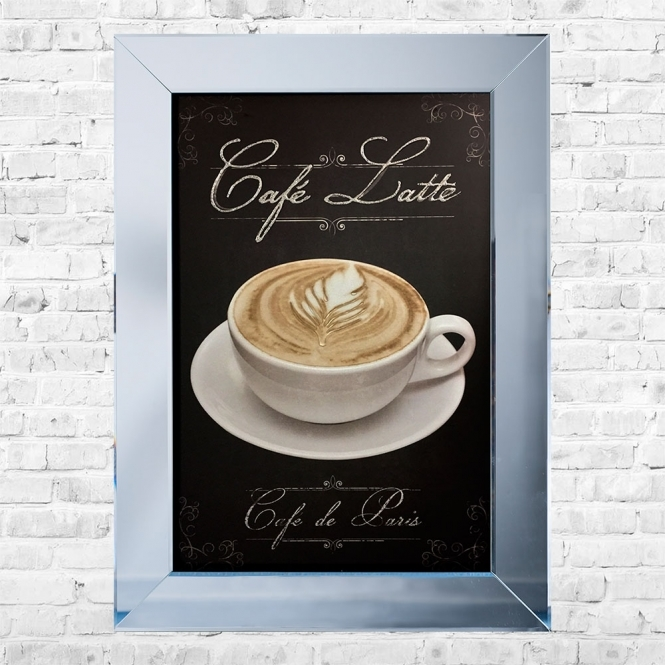 SHH Interiors CafŽ Latte Print Framed Liquid Artwork and Swarovski Crystals