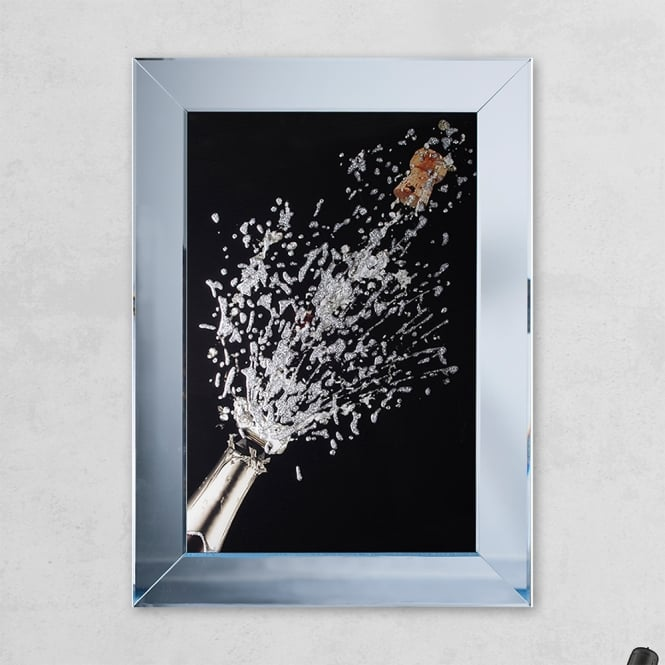 SHH Interiors Champagne Bottle Black Print Mirror with Liquid Glass and Swarovski Crystals 54 x 74 cm