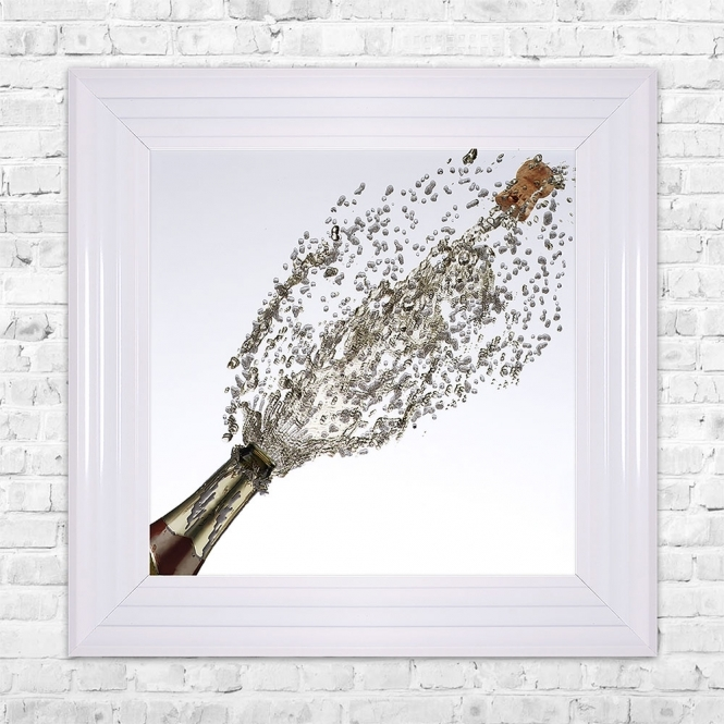 SHH Interiors Champagne Bottle Popping Print Framed Liquid Artwork and Swarovski Crystals