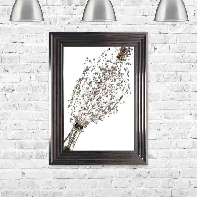 CHAMPAGNE POP WHITE FRAMED WALL ART
