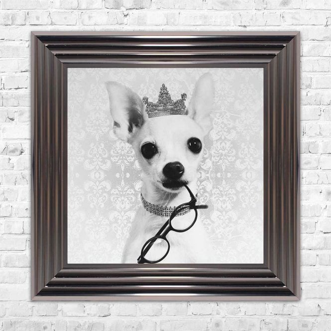 CHIWAWA WITH CROWN FRAMED WALL ART
