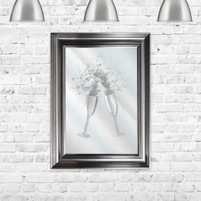 CLEAR FLUTES MIRROR FRAMED WALL ART