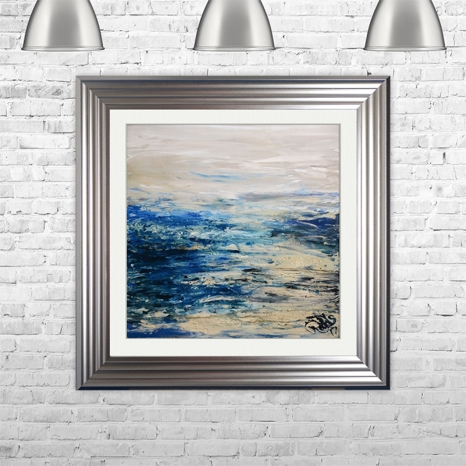 SHH Interiors COAST 2 Framed Liquid Artwork and Swarovski Crystals | 75cm x 75cm