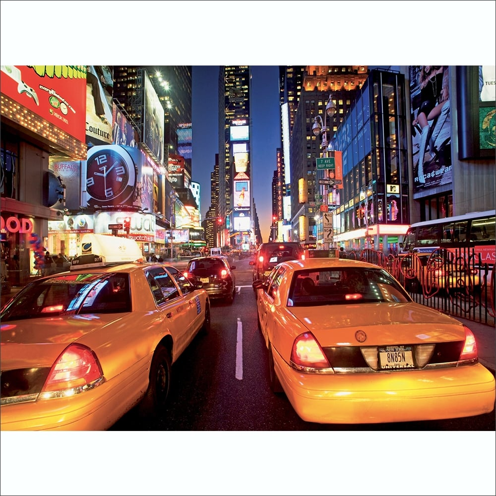 Awesome Colourful New York City Taxi Cab Time Square Wall Mural | 315cm X 232cm Home Design Ideas