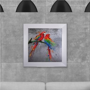 Colourful Parrots Hand Made with Liquid Glass and Swarovski Crystals 75 x 75 cm