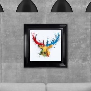 Colourful Stag 2 Hand Made with Liquid Glass and Swarovski Crystals 75 x 75 cm