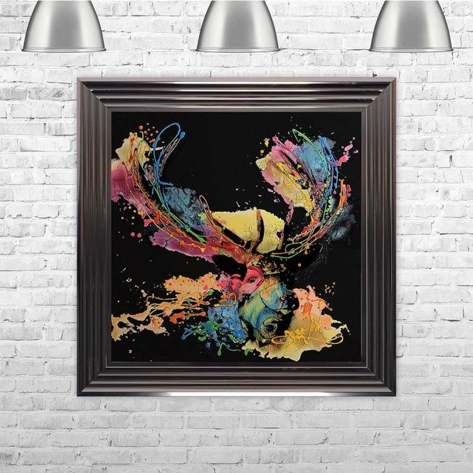 COLOURFUL STAG BLACK FRAMED WALL ART