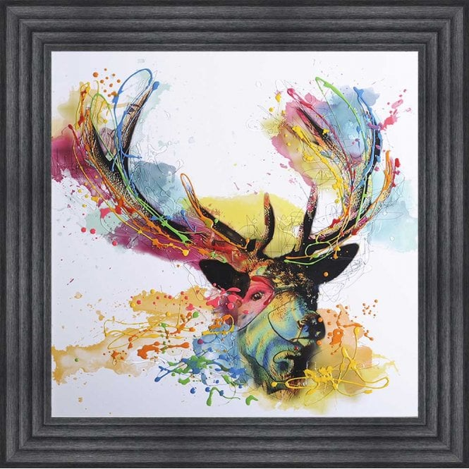 COLOURFUL STAG FRAMED WALL ART - 75cm x 75cm