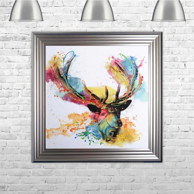 COLOURFUL STAG FRAMED WALL ART