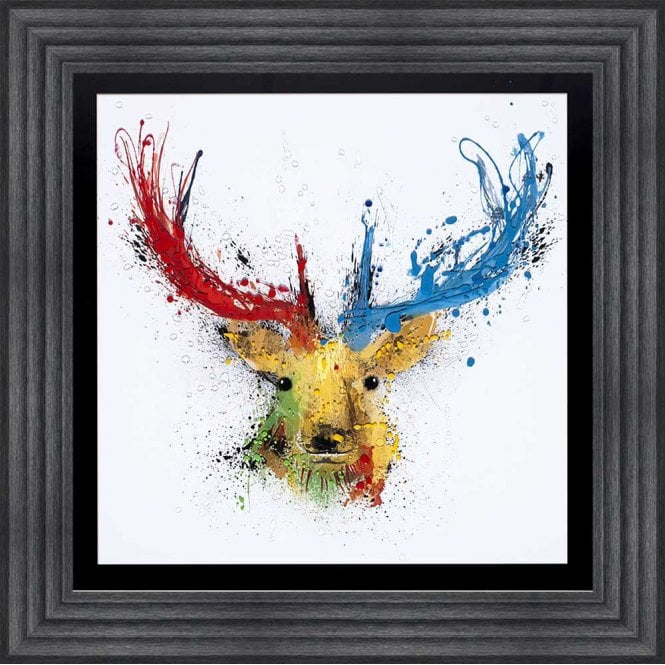 COLOURFUL STAG WHITE FRAMED WALL ART