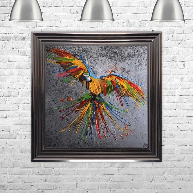 COLOURFUL YELLOW PARROT FRAMED WALL ART