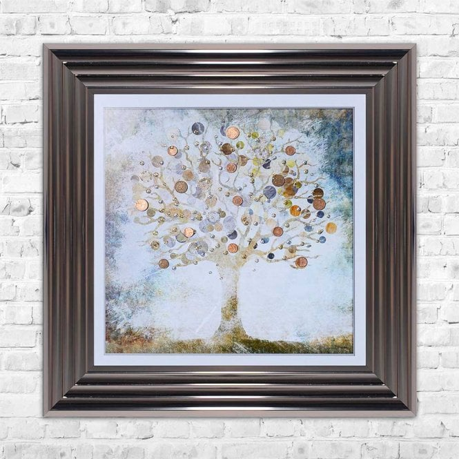 COPPER MONEY TREE FRAMED WALL ART