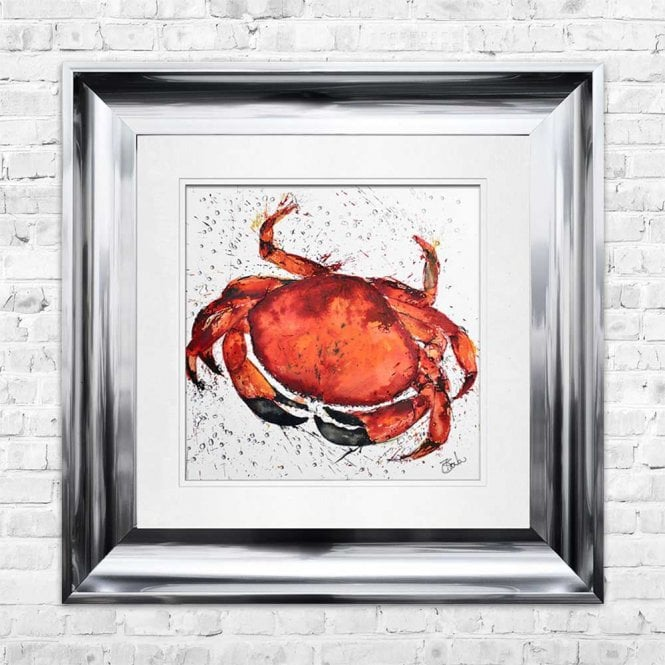 CRAB - HAND PAINTED WITH PHEASANT FEATHERS FRAMED WALL ART