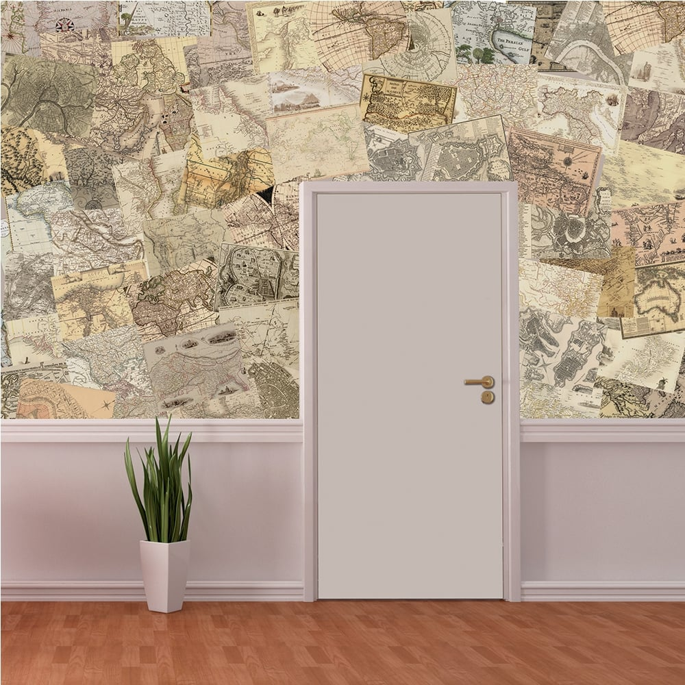 creative collage maps 64 piece wallpaper