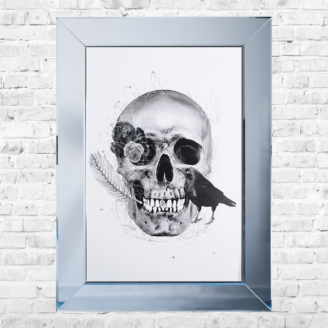 SHH Interiors Crow and Skull White Background Framed Liquid Artwork and Swarovski Crystals