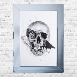 Crow and Skull White Background Framed Liquid Artwork and Swarovski Crystals