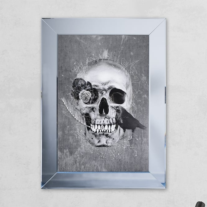 SHH Interiors Crow Skull Print Mirror Grey with Liquid Glass and Swarovski Crystals 54 x 74 cm