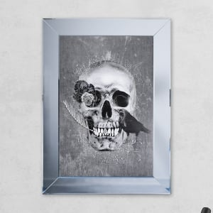 Crow Skull Print Mirror Grey with Liquid Glass and Swarovski Crystals 54 x 74 cm
