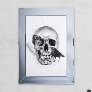 Crow White Skull Print Mirror with Liquid Glass and Swarovski Crystals 54 x 74 cm