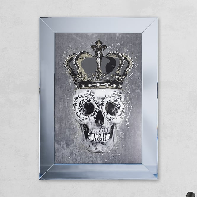SHH Interiors Crown Grey Skull Print Mirror with Liquid Glass and Swarovski Crystals 54 x 74 cm