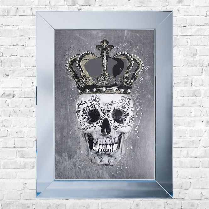 SHH Interiors Crown Skull Framed Liquid Artwork and Swarovski Crystals