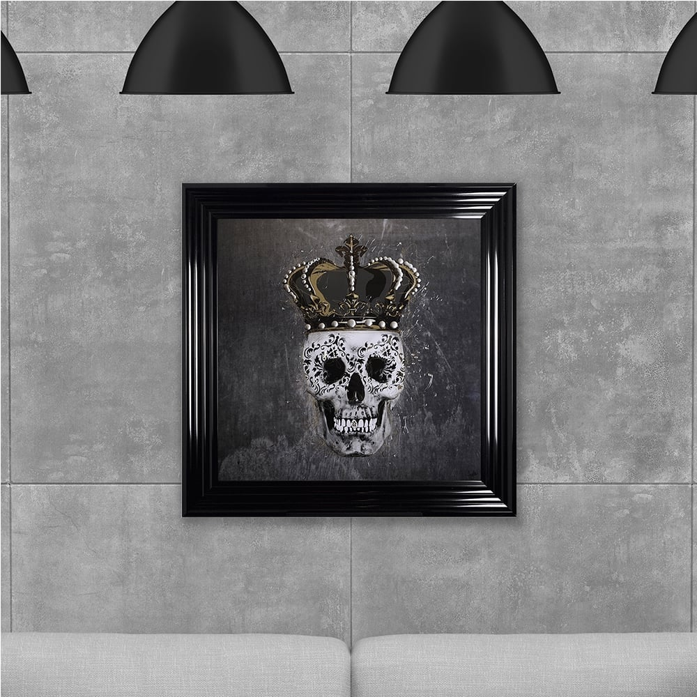 Shh Interiors Crown Skull Print Grey Hand Made With Liquid Glass And