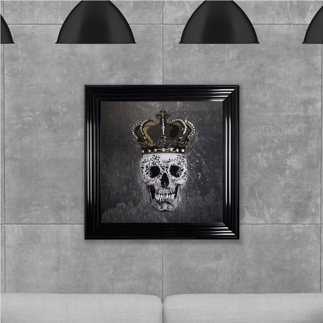 SHH Interiors Crown Skull Print Grey Hand Made with Liquid Glass and Swarovski Crystals 75 x 75 cm