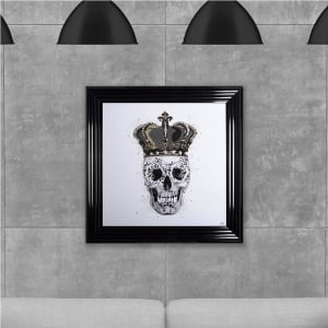 Crown Skull Print White Hand Made with Liquid Glass and Swarovski Crystals 75 x 75 cm