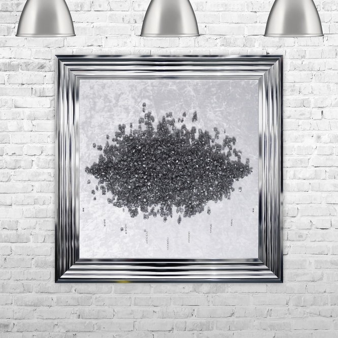 SHH Interiors Crushed Glass Cluster on Light Velvet Framed Liquid Artwork and Swarovski Crystals