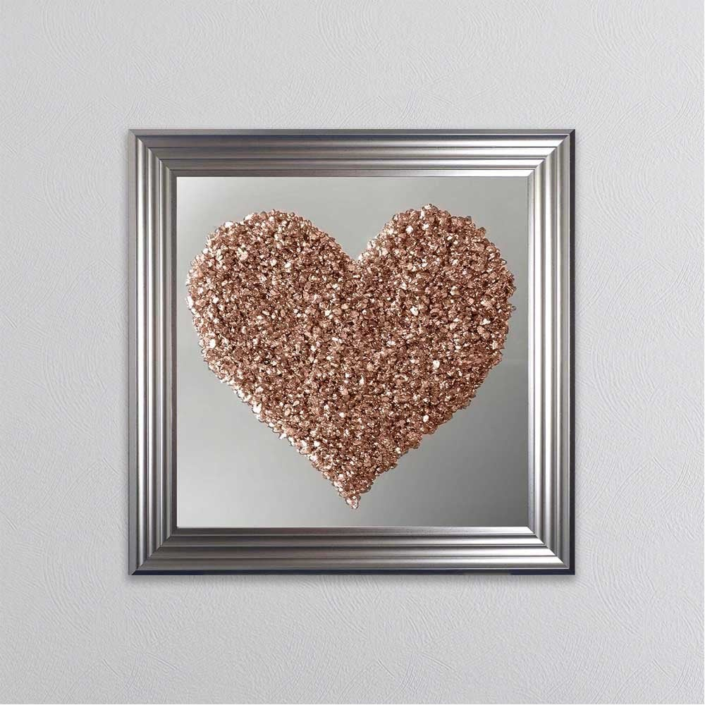 Shh Interiors Crushed Glass Rose Gold Heart On Mirror Wall Art 1wall