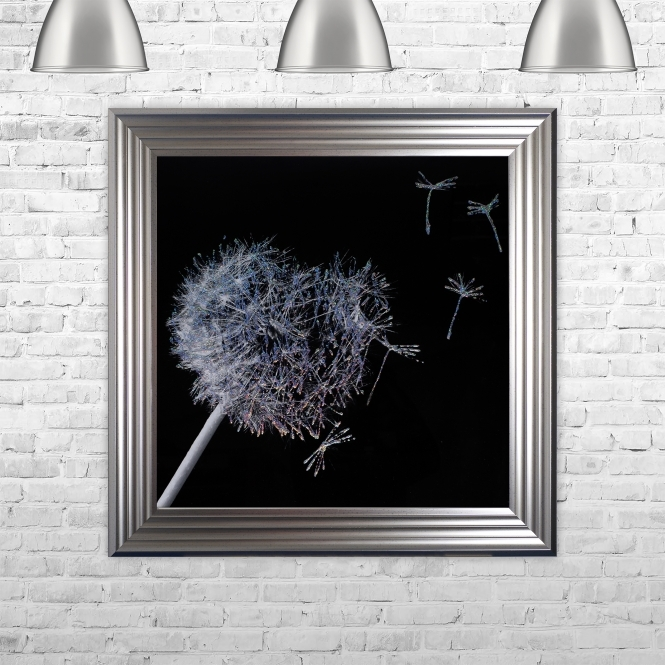SHH Interiors Dandelion Black Background Glitter Art Framed Liquid Artwork and Swarovski Crystals