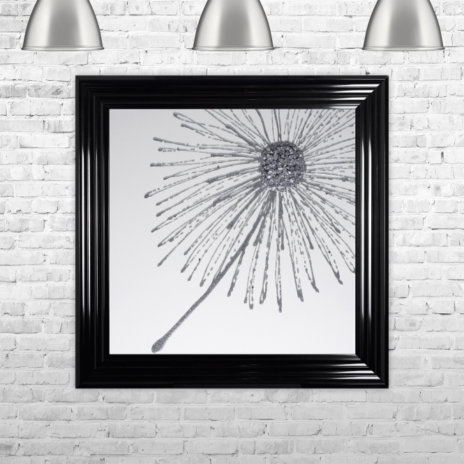 SHH Interiors Dandelion Silver Glitter White Background Right Framed Liquid Artwork and Swarovski Crystals