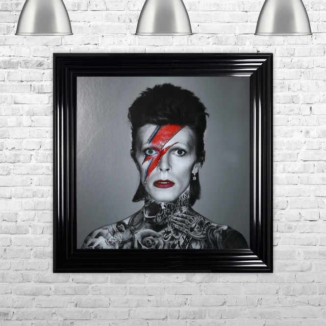 Biggon David Bowie Framed Liquid Artwork and Swarovski Crystals