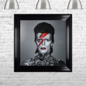 David Bowie Framed Liquid Artwork and Swarovski Crystals