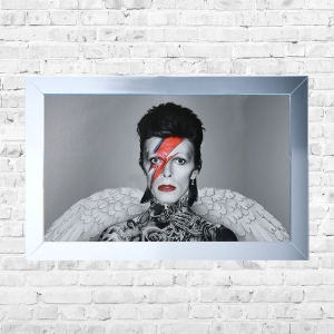 David Bowie Wings and Tatoos Framed Liquid Artwork and Swarovski Crystals