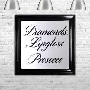 Diamonds Lipgloss Prosecco Framed Liquid Artwork with Swarovski Crystals White Background