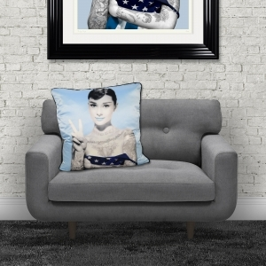 Dirty Hans Audrey Hepburn Luxury Feather Filled Cushion Blue | 55cm x 55cm