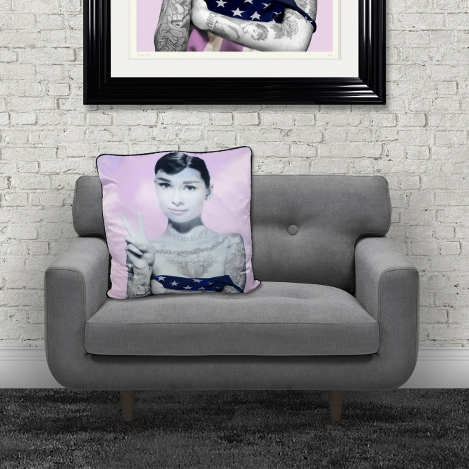 Dirty Hans Audrey Hepburn Luxury Feather Filled Cushion Lilac | 55cm x 55cm