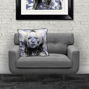 Dirty Hans Kate Moss Luxury Feather Filled Cushion Blue | 55cm x 55cm