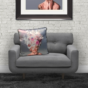 Dirty Hans Marilyn Monroe Flowers Luxury Feather Filled Cushion Blue | 55cm x 55cm