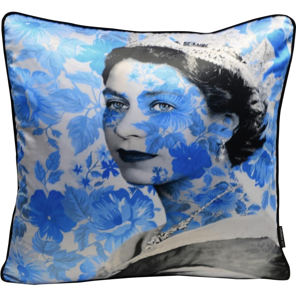 Dirty Hans Queen Elizabeth Luxury Feather Filled Cushion Blue 55cm X 55cm