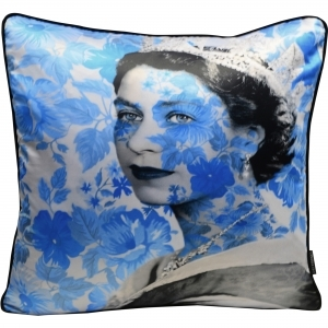 Dirty Hans Queen Elizabeth Luxury Feather Filled Cushion Blue | 55cm x 55cm
