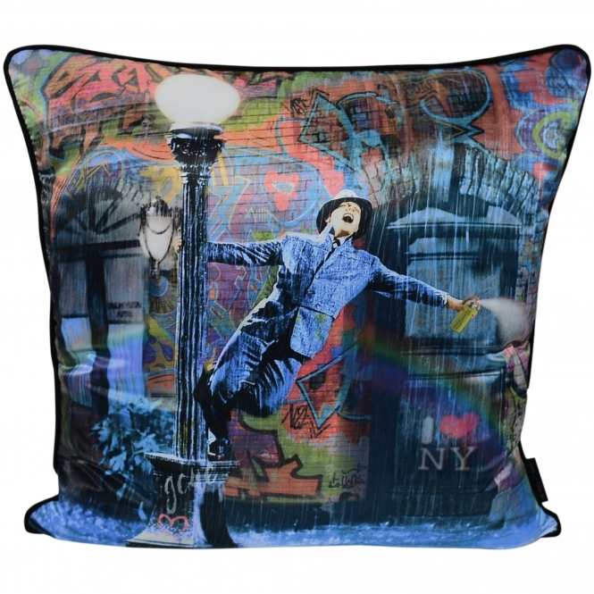 Dirty Hans Spraying in the Rain Luxury Feather Filled Cushion | 55cm x 55cm