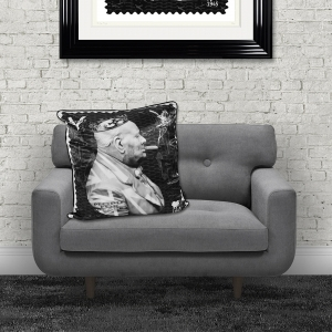 Dirty Hans Winston Churchill Luxury Feather Filled Cushion | 55cm x 55cm